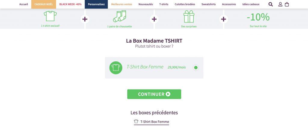 madame tshirt box vetement femme