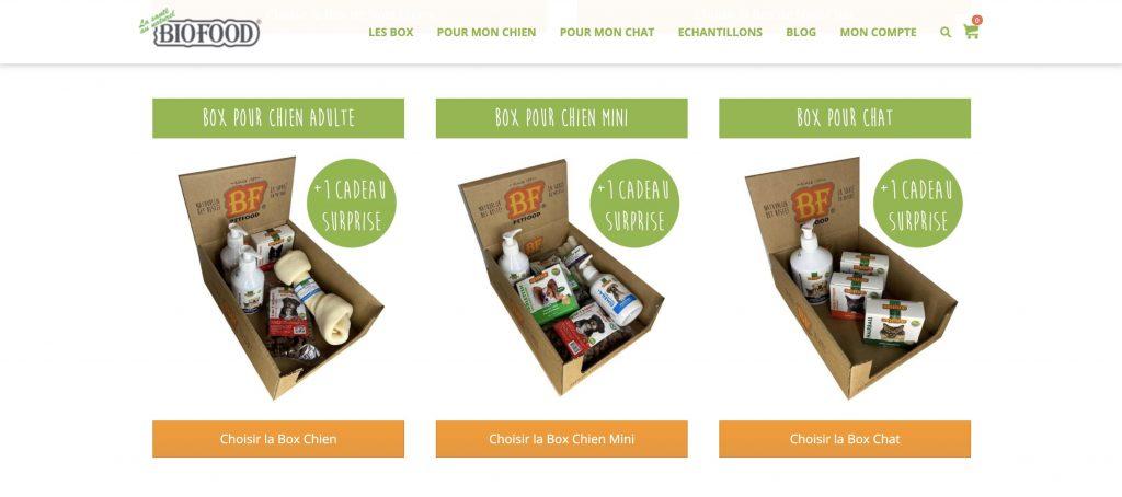 biofoodshop box mensuelle chien