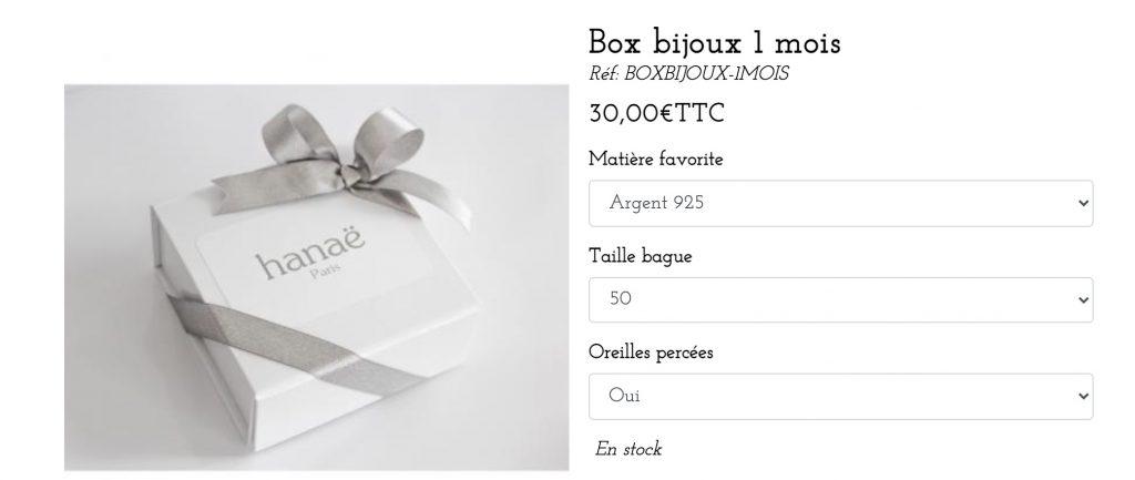 box bijoux hanae paris