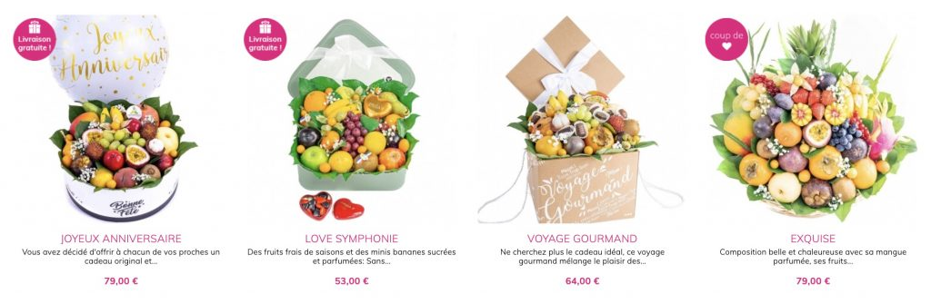box anniversaire fruits