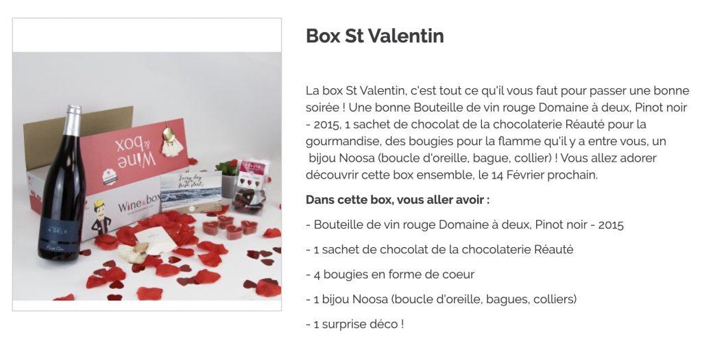 wine and box saint valentin